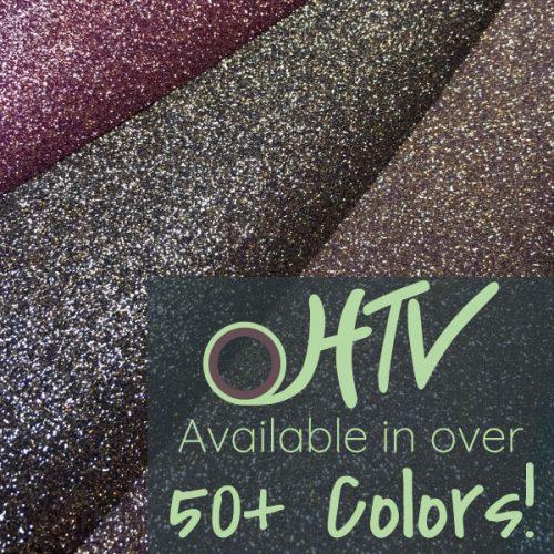 The store image for GlitterFlex® Ultra- it shows three rolls of GlitterFlex® Ultra and advertises there are over 50 colors of GlitterFlex® Ultra HTV