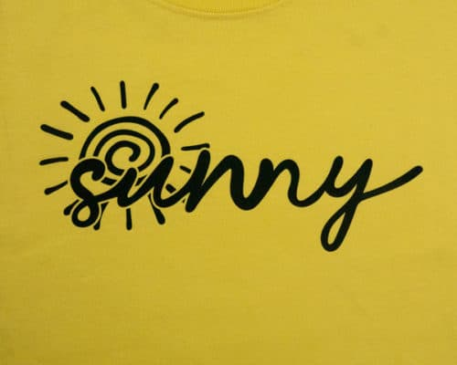 The sunny cut file on a shirt made with Black ThermoFlex® Plus