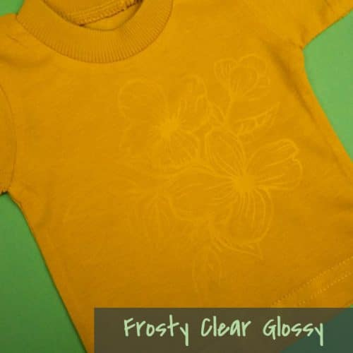 A shirt with flowers made with Glossy ThermoFlex® Plus Frosty Clear™