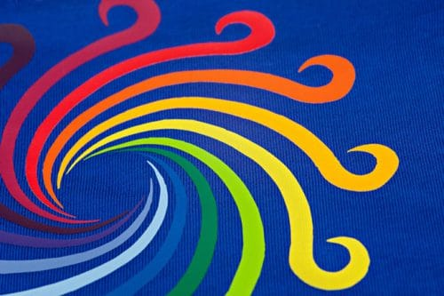 A colorful rainbow spiral of ThermoFlex® Plus HTV