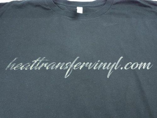 "A shirt with a scripty font that reads ""heattransfervinyl.com"" in Earthtone Camo DecoFilm® Soft Metallics"
