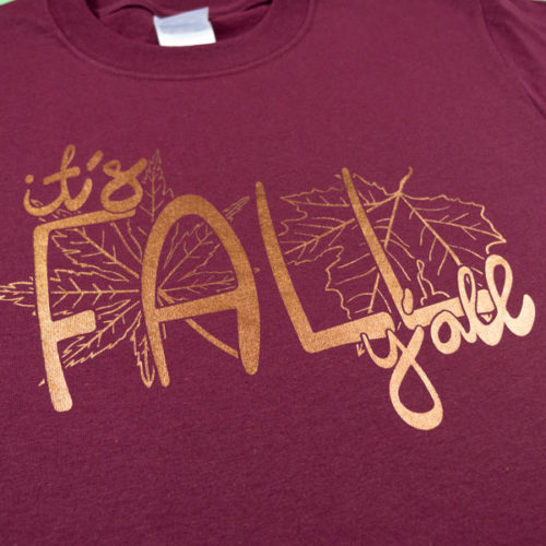 A shirt pressed with Copper DecoFilm® Soft Metallics in our It's Fall Y'all cut file