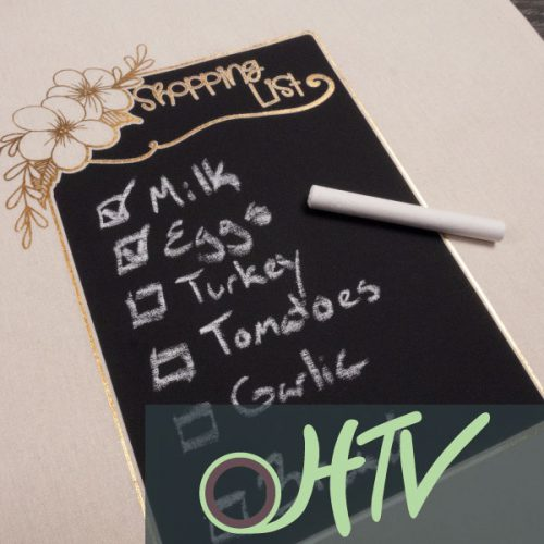 The store image for Chalkboard - it shows a a close up of a shopping list pressed on a bag