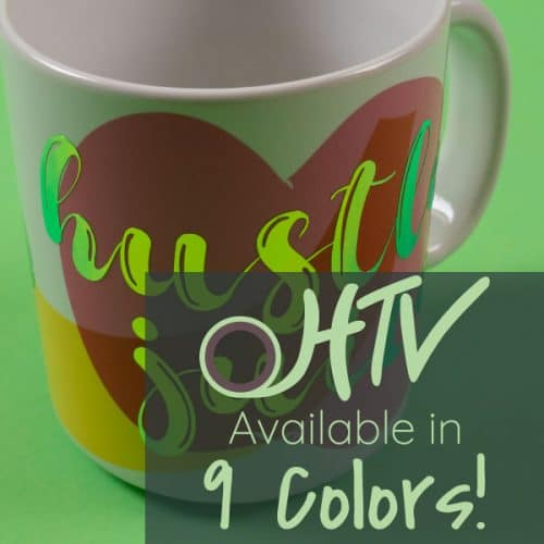 """The store image for Chameleon SpecialtyPSV™ - it shows a mug with the word """"hustle juice"""" and advertises there are 9 colors of Chameleon SpecialtyPSV™"""