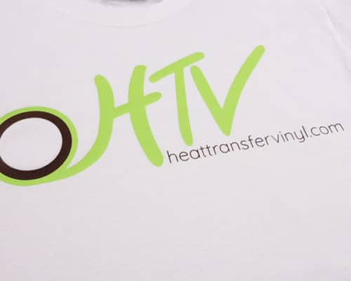 A t-shirt with the heattransfervinyl.com logo made with ThermoFlex Plus