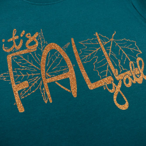 A shirt pressed with Dark Gold GlitterFlex® Ultra in our It's Fall Y'all cut file