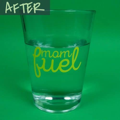 """A glass of warm water with the words """"Mom fuel"""" on it after the heat changes the color in Hot Rod Color Changing SpecialtyPSV™"""