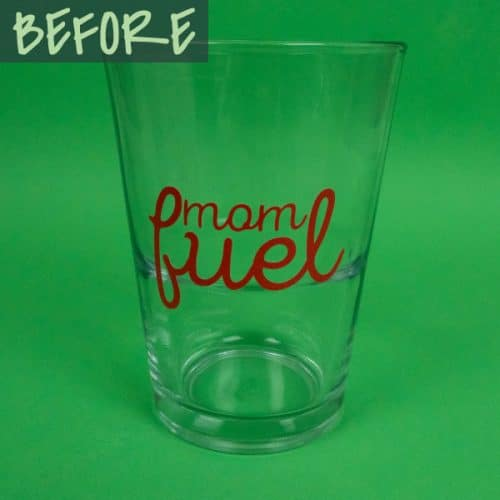 """A glass with the words """"Mom fuel"""" on it before the heat changes the color in Hot Rod Color Changing SpecialtyPSV™"""