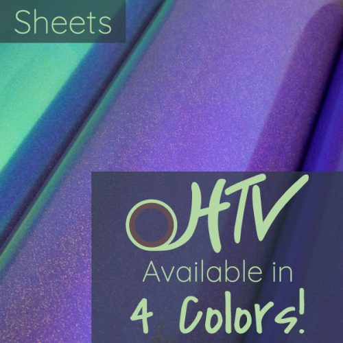The store image for DecoFilm® Glitter Chameleon Sheets - it shows 3 colors of materials and advertises there are 4 colors of DecoFilm® Glitter Chameleon Sheets