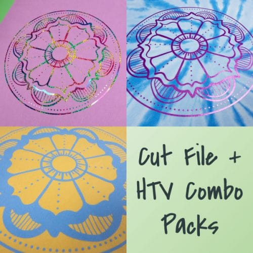 The store image for the Flower Mandala combo pack- this cut file is available in PNG, EPS, SVG, and Studio3 formats and has three HTV options.