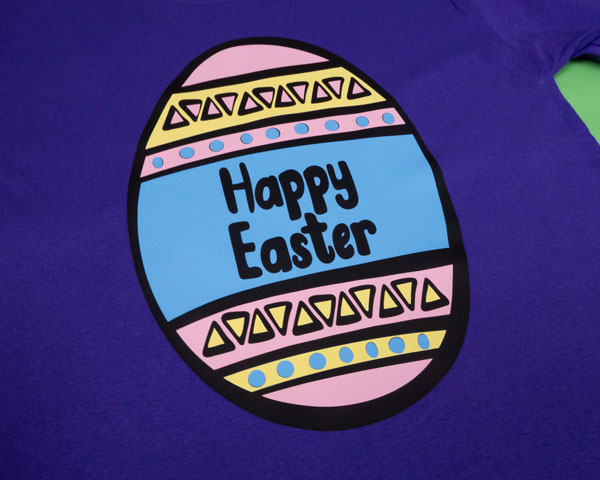 The Happy Easter Pack cut file in Black, Pastel Yellow, Light Pink, and Sky Blue ThermoFlex® Plus