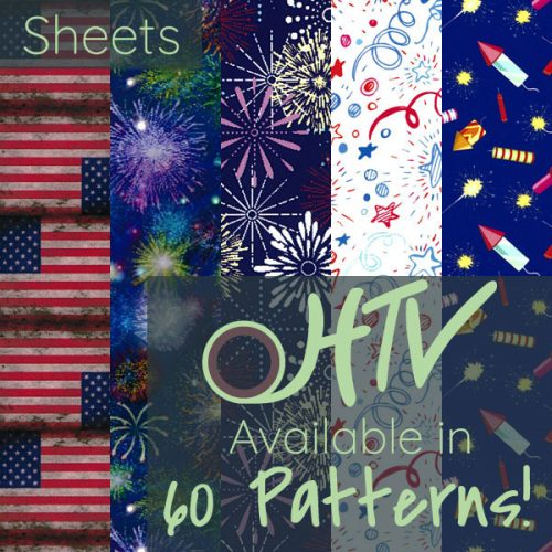 The store image for ThermoFlex® Fashion Patterns Festive - it shows a range of patterns and advertises there are 60 colors of ThermoFlex® Fashion Patterns Festive